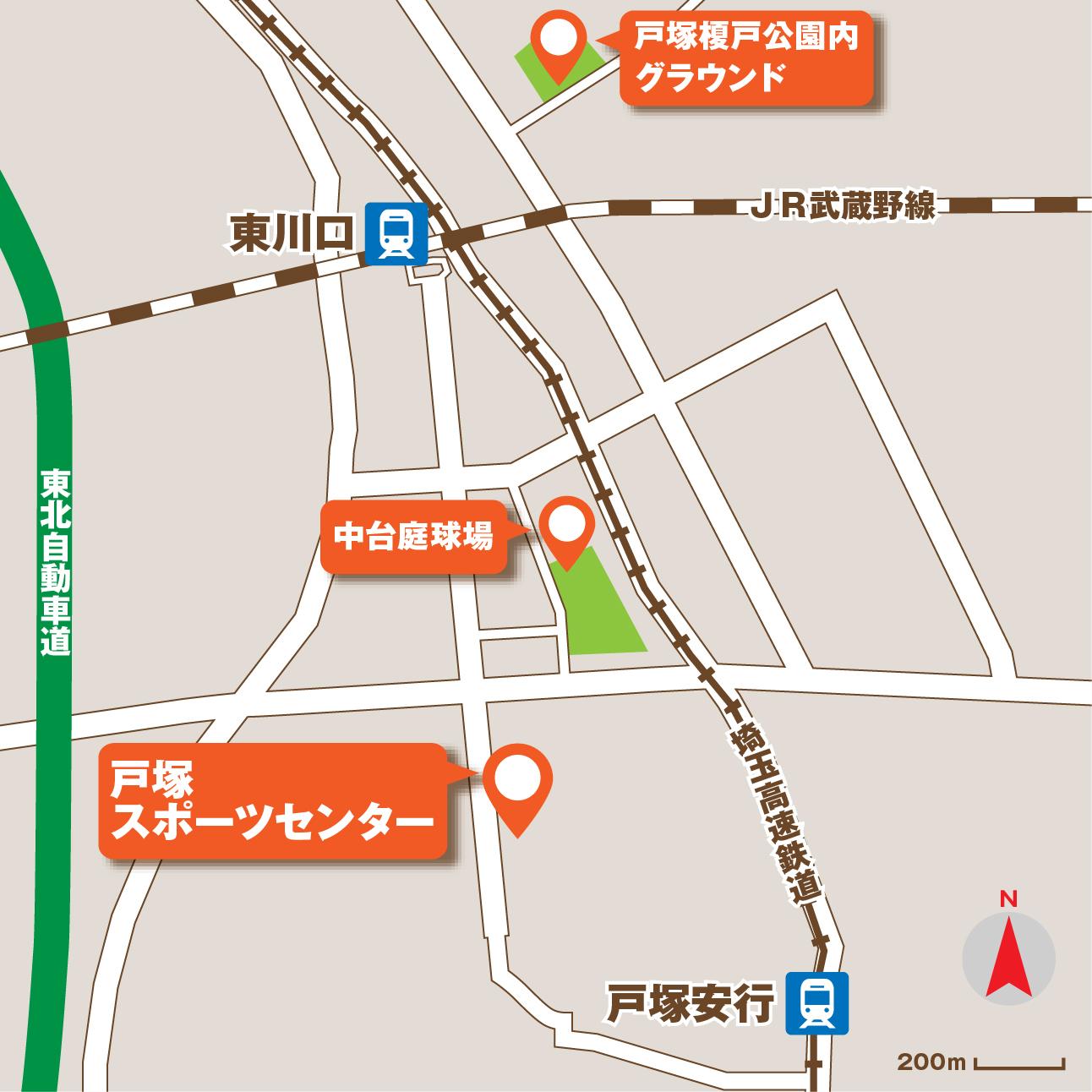 川口市戸塚スポーツセンターアクセスマップ